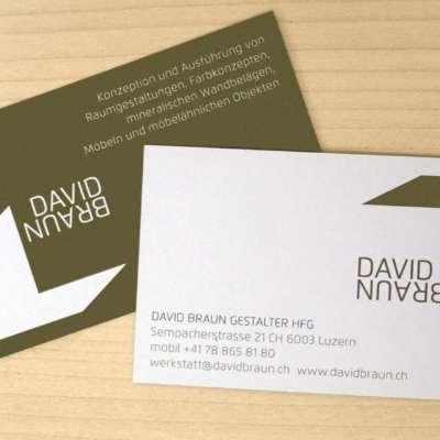Visitenkarte David Braun Gestalter HfG
