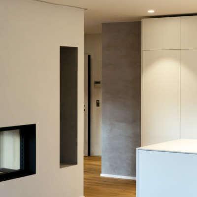 Raumkomposition Cheminée, Naturofloor, Küchenkombination